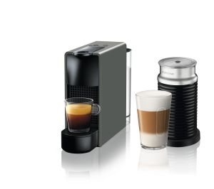 מכונת קפה Nespresso אסנזה מיני בצבע אפור דגם C30 כולל מקציף חלב ארוצ'ינו