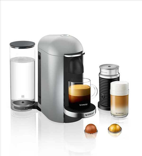 מכונת קפה VertuoPlus מבית NESPRESSO דגם GBC2 בגוון כסוף כולל מקציף חלב אירוצי'נו
