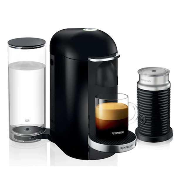 מכונת קפה VertuoPlus מבית NESPRESSO דגם GBC2 בגוון שחור כולל מקציף חלב אירוצי'נו