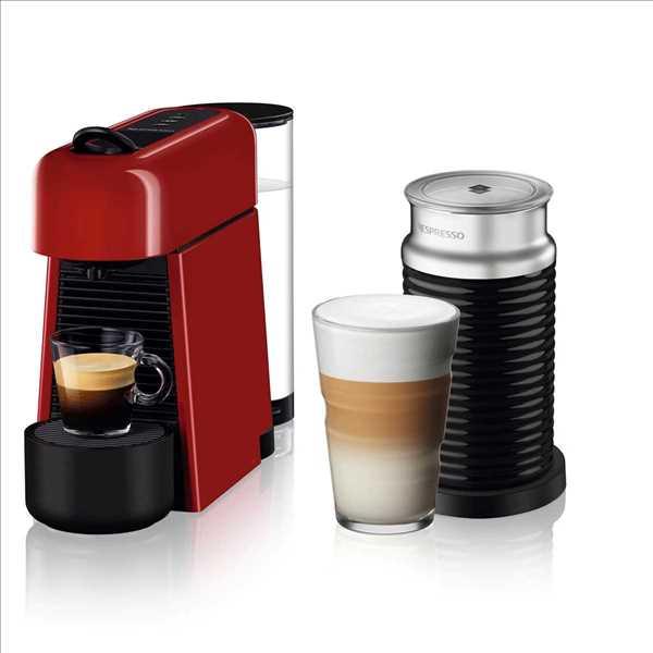 מכונת אספרסו Nespresso Essenza D45 Plus נספרסו כולל מקצף חלב - צבע אדום