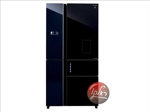 מקרר 5 דלתות SHARP SJ-9731 שארפ 661 ליטר ציפוי זכוכית שחורה