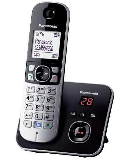 טלפון אלחוטי + משיבון תומך עברית Panasonic KX-TG6821MBB פנסוניק