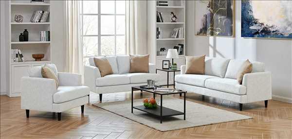 מערכת ישיבה מעוצבת לסלון 3+2+1 דגם לאונרדו אפור בהיר